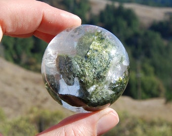 "126g 2"" Lodolite Crystal Sphere Ball Landscape Garden Quartz Inclusions Rainbow Phantom Shamanic Dreamstone Dream Stone Green Phantom"