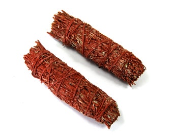 "ONE 4"" Dragons Blood Resin and Mountain Sage Natural Mixed Bundle Smudge Stick Medium 4 Inches Natural Incense"