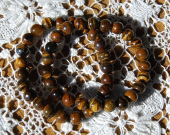 Tiger's Eye Power Bracelet 8mm Natural Gemstone Beads Crystal Jewelry Component Beaded 7 Inch Bead Strand Iridescent Gold Brown