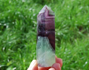 "3.75"" Rainbow Fluorite Crystal Tower Point Polished Generator Towers High Quality Green Purple Clear Healing Crystals Self Standing"