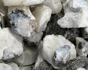 RAINBOW MOONSTONE 1/4 lb Bulk Rough Chunks Wholesale Natural  Stones .75 to 2 Inches Crystal Crystals