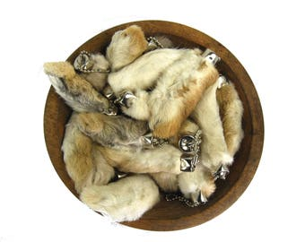 ONE Lucky Rabbit's Foot Keychain Natural Colors Brown Beige White Grey Silver