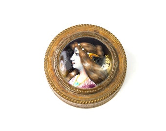 Antique Art Nouveau Dore Trinket Box with Hand Painted Enamel Portrait Miniature Ormolu Powder Signed circa 1900