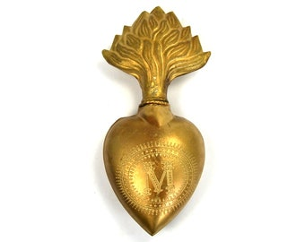 Large Sacred Heart Ex Voto Milagro Cachette Antique Gold Burning Heart Santos Saint Bottle Antiqued Pendant Ornament