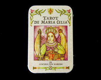 Tarot de Maria Celia Card Deck and Book in Tin Box Divination Oracle Small Pocket Size Vintage Antique Style French Marseilles