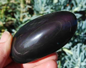 "155g 3.5"" Rainbow Obsidian Palm Stone Polished Crystal Soap Stones Natural Crystals Purple Green Gold Sheen"
