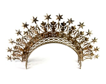 Extra Large Santos Tiara with Lilies Stars Rhinestones Antique Silver Finish Adult Size Crown Art Nouveau