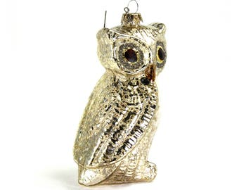 ON SALE! Glass Snow Owl Christmas Ornament 5.5 Inches Tall Silver Mercury Glitter Details Wise Owl