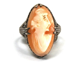 Antique Art Deco Cameo Filigree Ring in Sterling Silver with Hand Carved Shell Cameo Flower Blossoms Size 5.5 Circa 1920