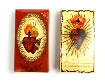 TWO Boxes of Decorative Matches Sacred Heart Vintage Style Print Rose 50 100 Matchbox Match Box Novelty