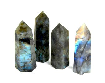 ONE 3.25-3.75 Inch Labradorite Crystal Point Polished Generator Grounding Transformation Intuition Obelisk Tower