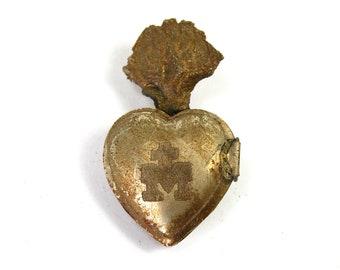 TINY Sacred Heart Ex Voto Milagro Cachette Antiqued Silver Burning Heart Santos Saint Locket Box Antique Pendant Ornament