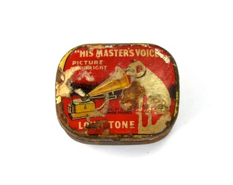 Antique RCA Gramophone Needle Tin His Master's Voice Red Dog Victor Victrola Masters
