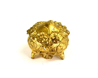 Sweet Antique Art Nouveau Trinket Ring Box Ormolu with ORIGINAL SILK LINING Floral Design of Wild Roses Jewelry Casket circa 1910