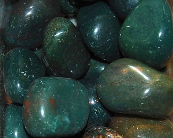 BLOODSTONE Tumbled Stone 1 or 6 Pieces Wholesale Natural Medium Tumble Stones .75 to 1.25 Inches Crystal Buy More and Save