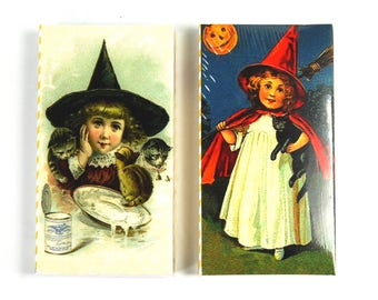 TWO Boxes of Decorative Matches Littlest Witch Little Witch Black Cat Kittens Vintage Style Print Sepia 50 100 Matchbox Match Box Novelty