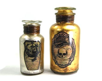 Pair Mercury Glass Apothecary Jars Halloween Novelty Skull Witch Gothic Gold Silver Leaf