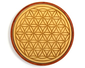 Wooden Crystal Grid FLOWER OF LIFE 6 Inch Round Gridding Lightwork Wood Altar Tile