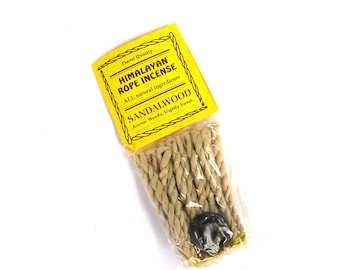 Himalayan Rope Incense SANDALWOOD 20 Ropes Bundle with Burner Tibetan