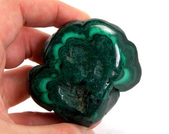 "173 gram 2.5"" LARGE Freeform Semi Polished Natural Malachite Specimen Display Piece Manifestation Travel Protection Crystal"