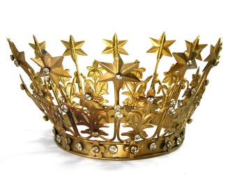 """Extra Large Santos Crown with Lilies Stars Rhinestones Brass Antique Gold Finish Adjustable 6-7"""" Diameter"""