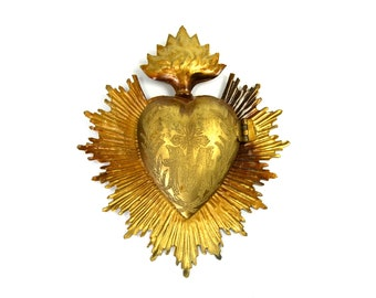 Sacred Heart Ex Voto Milagro Cachette Brass Burning Heart Santos Saint Locket Box Gold Flames Flaming Sun Ray Rays Ornament
