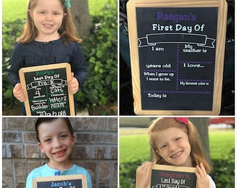First Day of School Chalkboard Sign, Personalized, Reusable Back to School Sign, First Day of School,  Last Day of School, Kid's Photo Prop