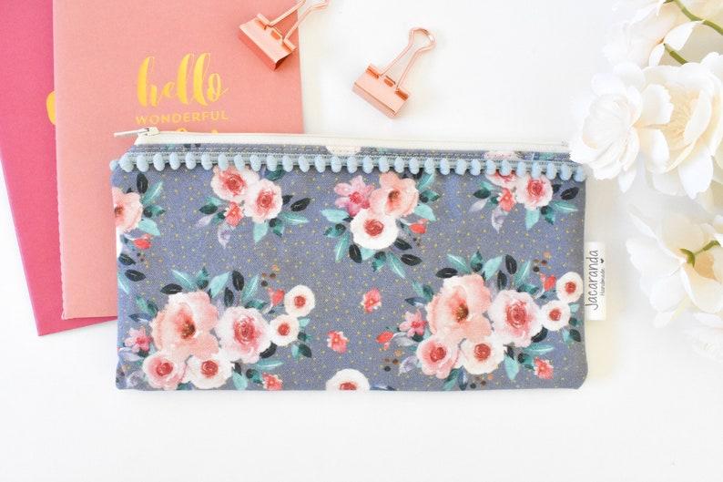 floral Planner pouch stocking stuffer zipper bag planner gift planner accessories bag christmas small zipper bag teen girl small gift