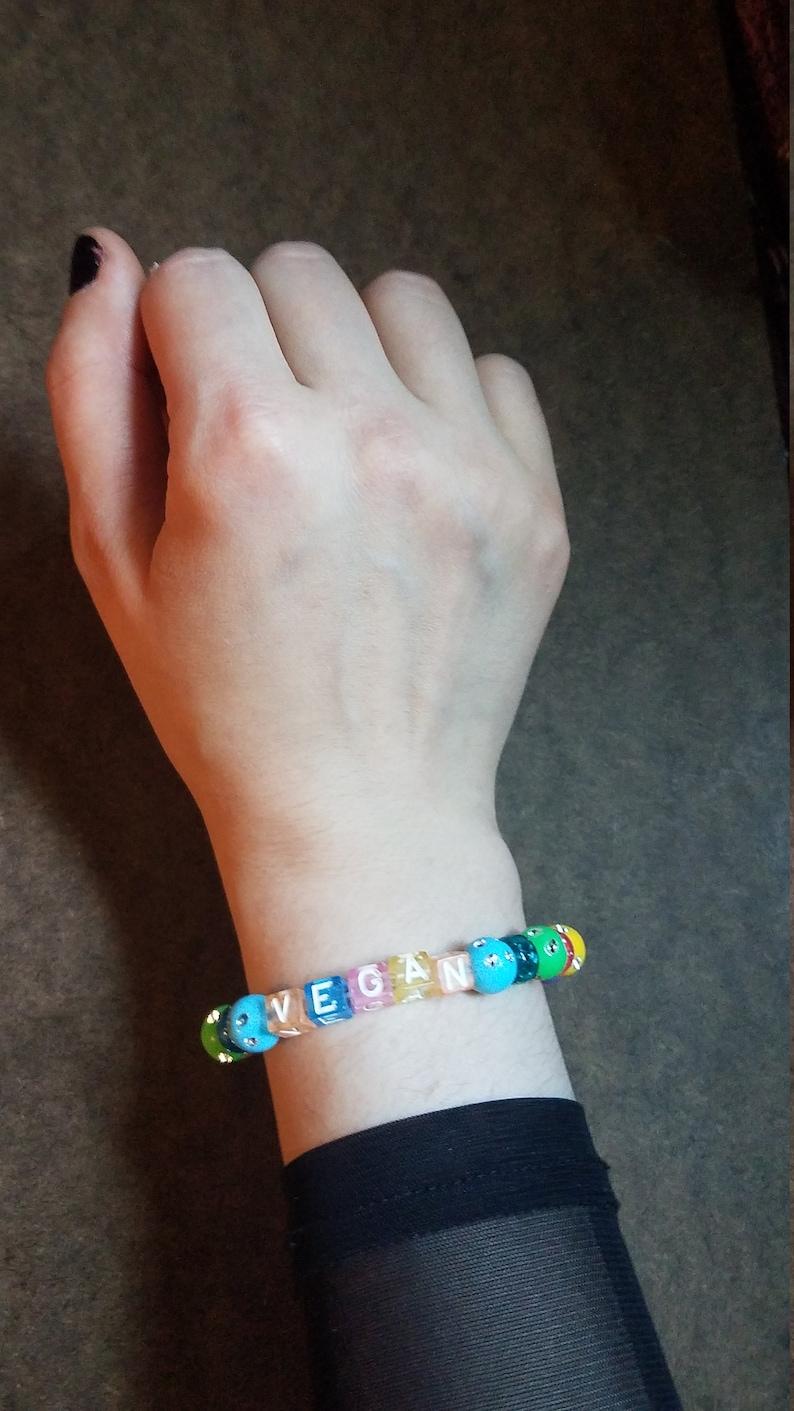 Glitter Vegan BraceletGlitter RainbowVegan JewelryPlant BasedAnimal RightsAnimal WelfareKawaii VeganFree ShippingOOAKVegan Jewelry