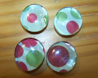Red and Green Polka Dot Refrigerator Magnets Set of 4