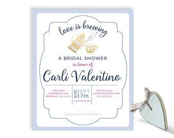 Bridal Shower Invitation  Tea Party in Pastel Blue or Cream   Digital File