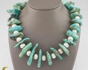 Sterling Silver Turquoise Beaded Navajo Native American Necklace