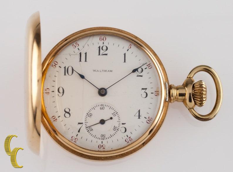 2199163839b3d Waltham Seaside Full Hunter 14k Yellow Gold Pocket Watch Size 6S 7 Jewels  1901