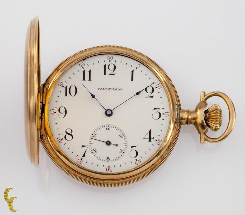 7165115c1373e Waltham Full Hunter 14k Yellow Gold Pocket Watch 15 Jewel Size 12 Gr 220  1901