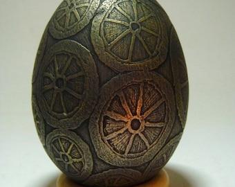 Golden Lemon, acid etched goose eggshell with metal patina