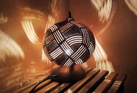 Arabian Dream a Zen ambiance table lamp made from a  carved calabash