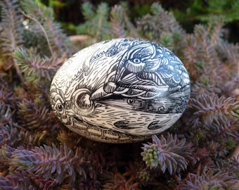 Decorated duck eggshell with Chinese ink surrealistic design