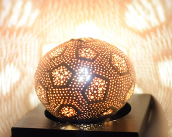 Lamp 'Alma's Dream', cosmic ambiance carved young coconut table lamp