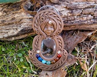Red jasper crystal clay goddess Pendant skull jewelry polymer clay gemstone necklace ooak crystal jewelry demon girl goddess of death