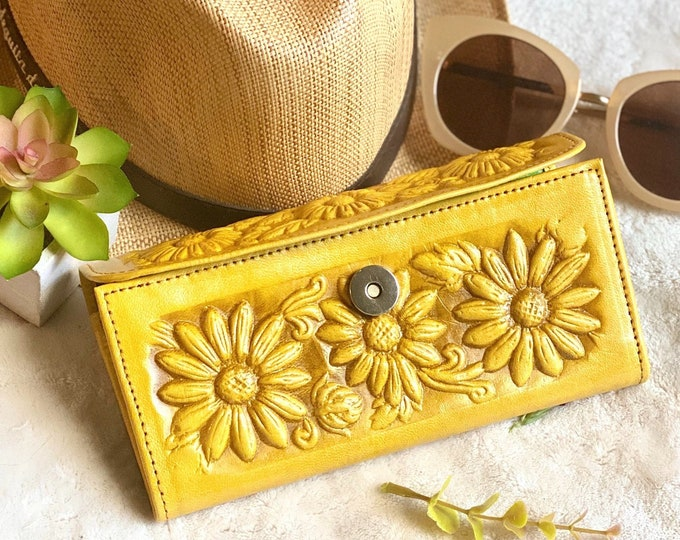 Leather Sunflowers woman wallets, wallets for woman, leather purse wallet, leather wallet for woman- gift for her