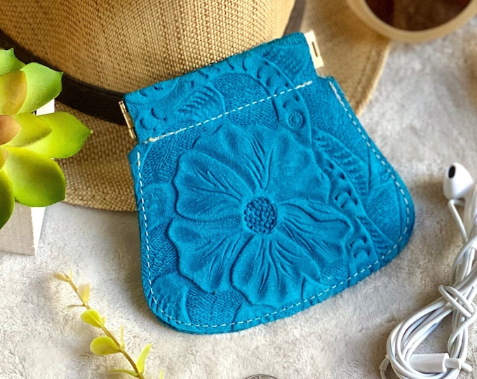 Authentic Leather Squeeze Pouch - Leather AirPods Case- Leather coin purse- gifts for her- handmade gifts