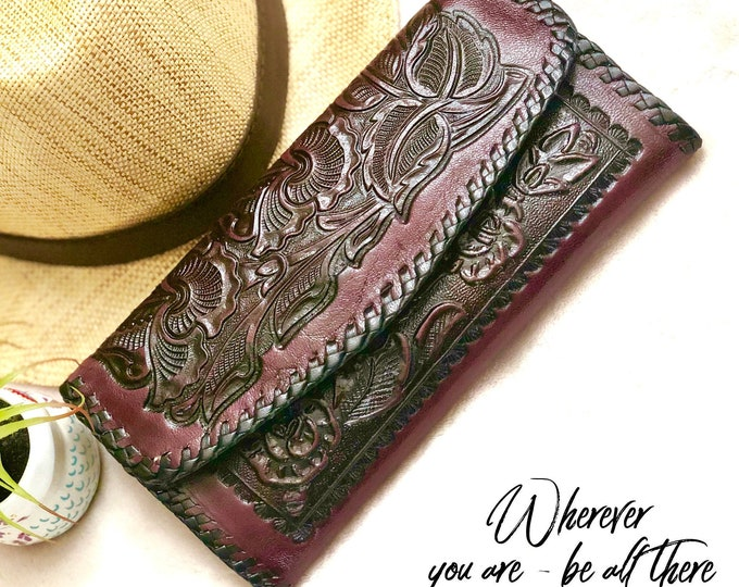 Handmade Leather Wallets for Woman- leather wallets for women - western wallet woman - tooled leather wallet women - gift for her