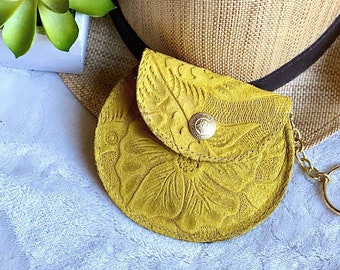 Handmade Embossed leather woman pouch - coin purse leather - earbuds case - AirPods case - Hibiscus pouch - yellow pouch - bohemian pouch