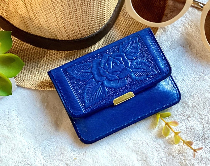 Cobalt blue Handmade leather Small Wallet -Small wallet - wallet for women - Gift for her - woman purse - travel wallet