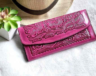 Western style wallet - leather wallet women - gift for her -leather wallet for woman