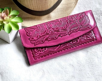 Bohemian woman wallet - western style wallet - Pink leather wallet - Christmas gift for her -leather wallet for woman