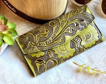 Lime green authentic leather woman wallets - Handmade leather wallets for woman - women's wallet - leather money purse - gifts for her