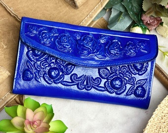 Blue leather credit card wallets for women -  roses wallet - gift for women - purse wallet