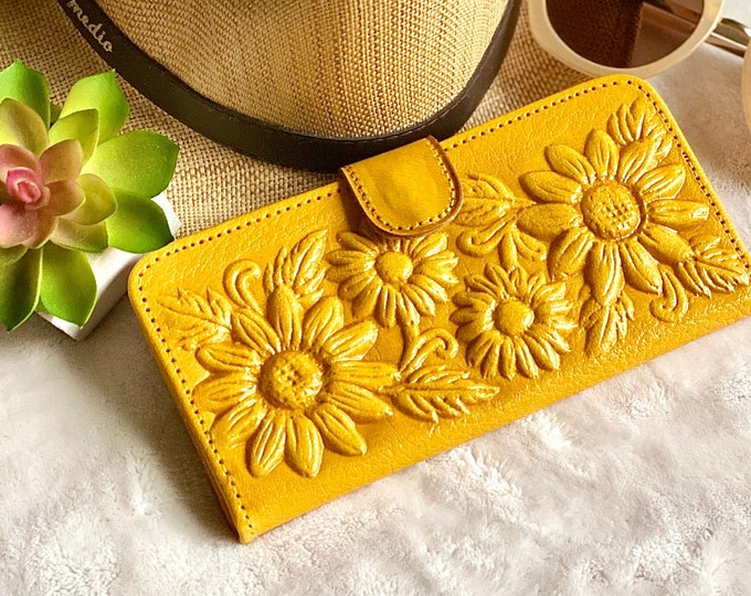 Sunflower gifts - money organizer - woman wallet leather - leather wallet woman - money purse - yellow wallet  -gifts for sister