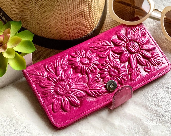 Handmade sunflowers leather woman wallet - gifts for her -handmade gifts- bifold wallet - sunflowers gifts
